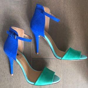 Zara color block heeled sandals